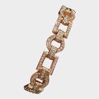 Heavy Vintage Diamond Link Bracelet in 18K Gold