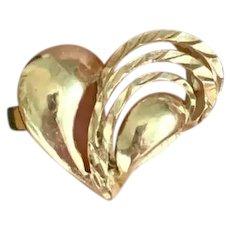 14K Gold Sculptural Heart Cocktail Ring