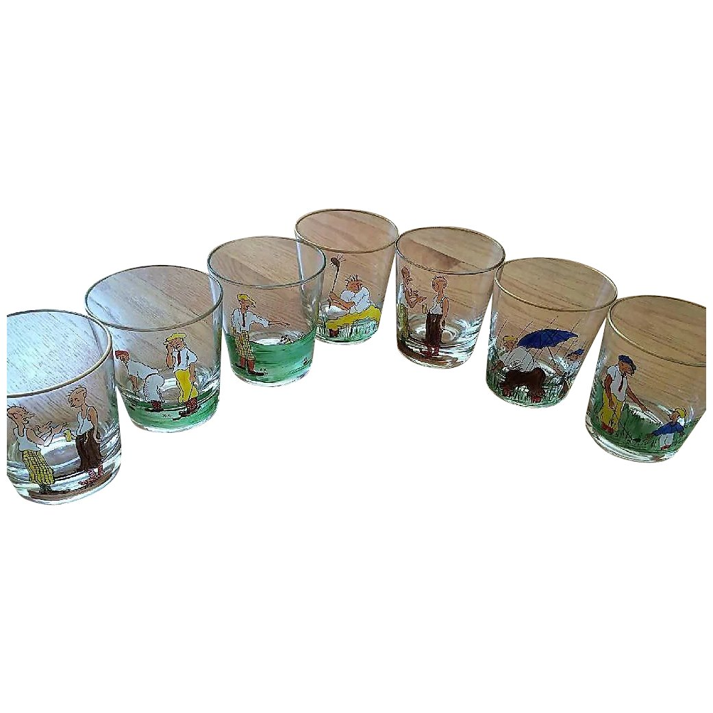 Set Of 7 Lowball Or Rock Glasses Hand Painted With Golf Scenes