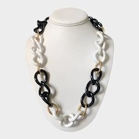 14K Gold, White Agate, Onyx, Chain Link Necklace