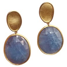 Marco Bicego Lunaria Aquamarine 18K Gold Drop Earrings