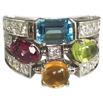 Bulgari Allegra 18K Gold Diamond Multi Gemstone 3 Band Ring US 6.25