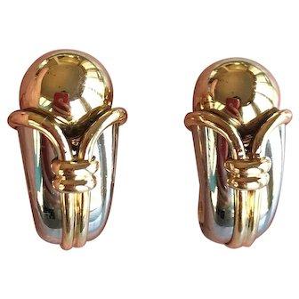 Bulgari Cornucopia 18K Gold Two Tone Earrings