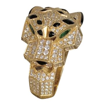 Cartier 18K Gold Diamond Panthere Ring