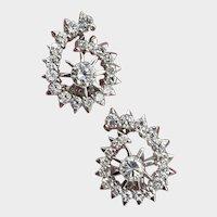 14K White Gold 1.28ctw Diamond Swirl Earrings