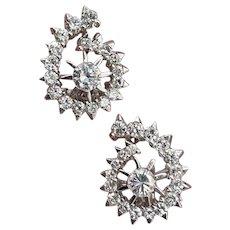 White Gold Diamond Swirl Earrings 1.28ctw