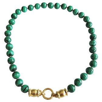 """Elizabeth Locke 19K Lucrezia Clasp Malachite Necklace 17"""""""