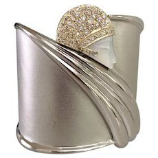 Erte Diamond 14K Gold Sterling Tempest Cuff