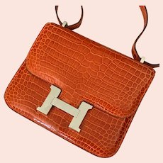 Hermes 18cm Orange Porosus Crocodile Mini Constance