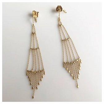 """H Stern 18K  Long Diamond Dangle Statement Earrings 3.5"""""""