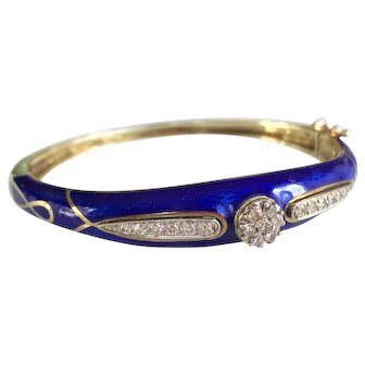 La Triomphe 14K Gold Diamond and Blue Enamel Bangle