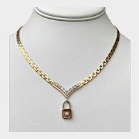Vintage Italian 14K Gold 1.4ctw Diamond Padlock Pendant Necklace