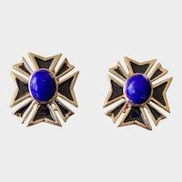 18K Gold Lapis Enamel Maltese Cross Clip On Earrings
