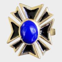 18K Gold Lapis Enamel Maltese Cross Ring