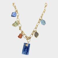 Monica Vinader Multi Gemstone Vermeil Charm Necklace