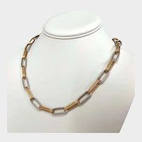 Italian Oval Paperclip 18K Gold Chain Link Necklace