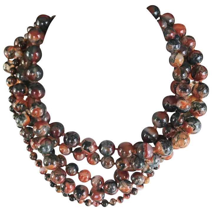 fb11f763a Paloma Picasso for Tiffany & Co 5 Strand Agate Necklace : Green Wood ...