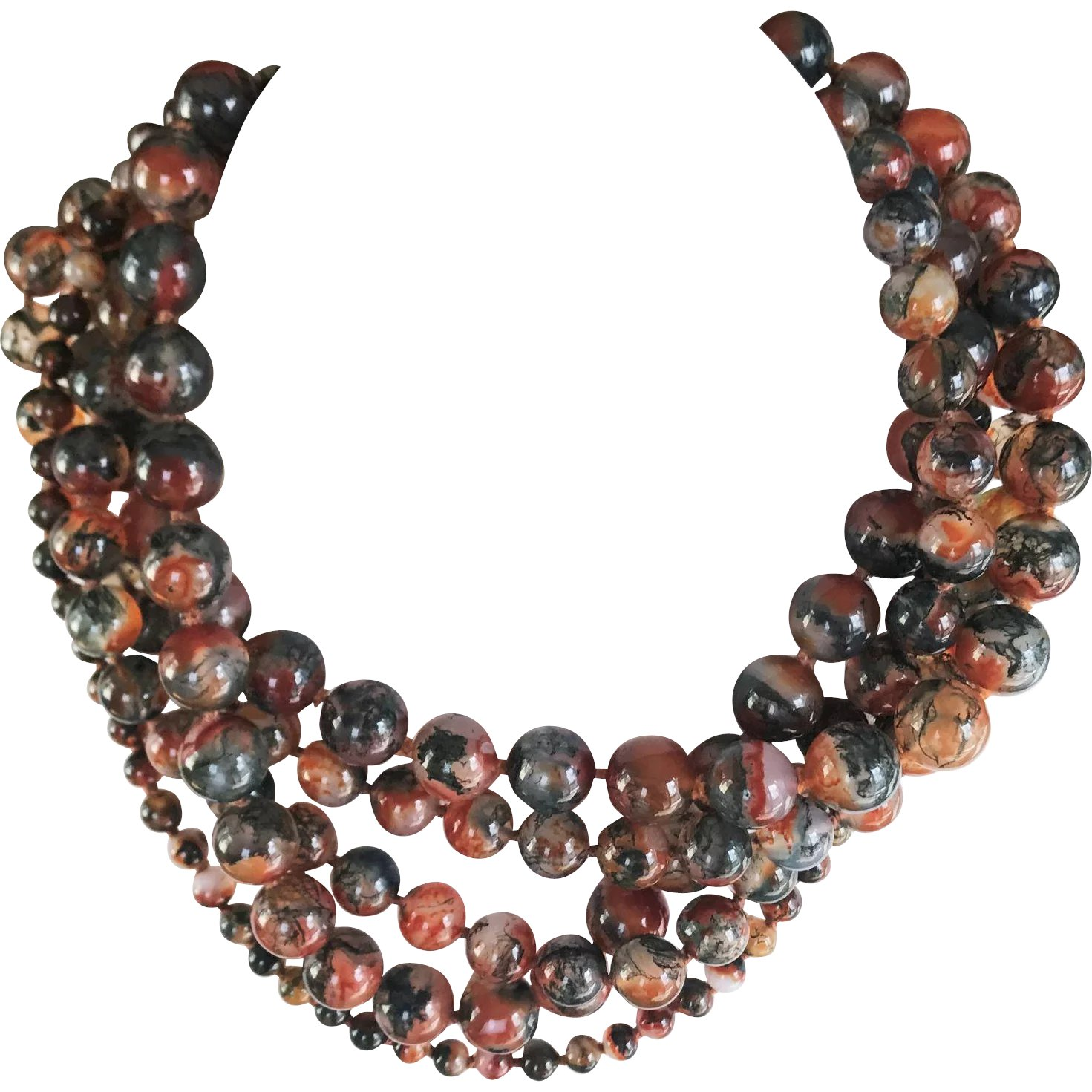 f338d002f Paloma Picasso for Tiffany & Co 5 Strand Agate Necklace : Green Wood  Gallery | Ruby Lane