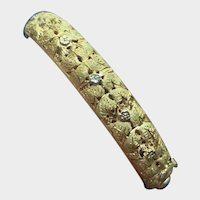 Exceptional Italian Floral 18K Gold Hinged Bangle