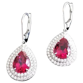 Tiffany & Co Soleste Platinum Rubellite and Diamond Halo Earrings