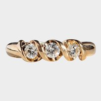 Beautiful Scrolling 14K Gold Ribbon Three Stone Diamond Ring