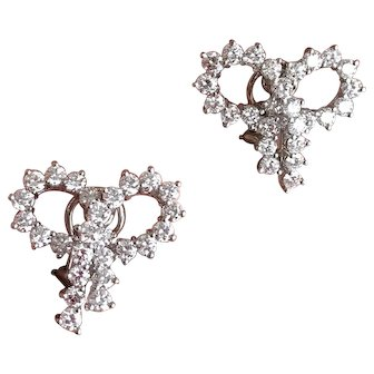 Tiffany and Co Platinum 5 Ct Diamond Bow Statement Earrings