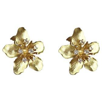 Tiffany & Co 18K Gold Diamond Azalea Flower Earrings