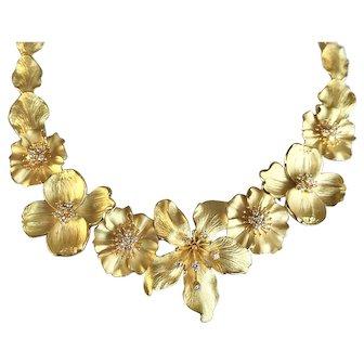 Tiffany & Co 18K Gold Diamond Dogwood Flower Bouquet Necklace