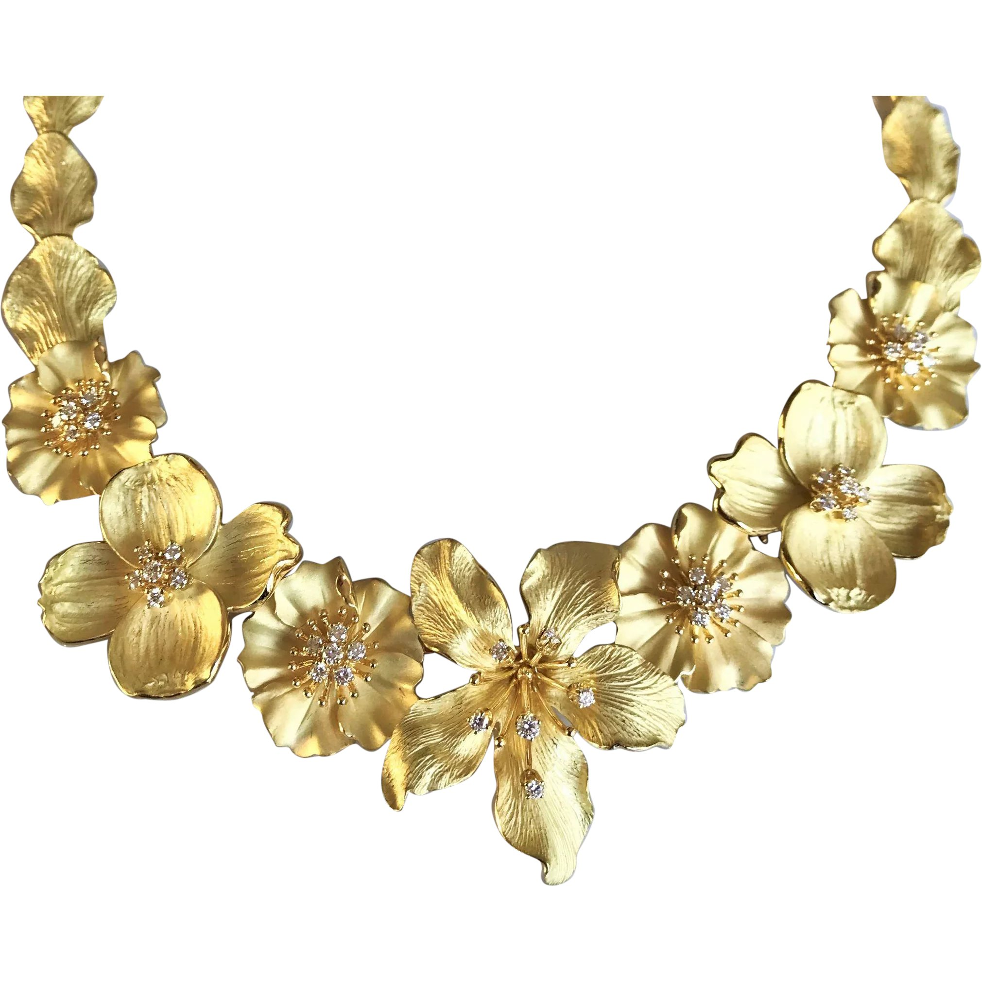 de7bb8109 Tiffany & Co 18K Gold Diamond Dogwood Flower Bouquet Necklace : Green Wood  Gallery | Ruby Lane