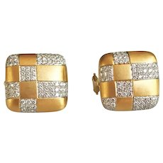 Tiffany & Co. 18K Gold Diamond Checkerboard Earrings
