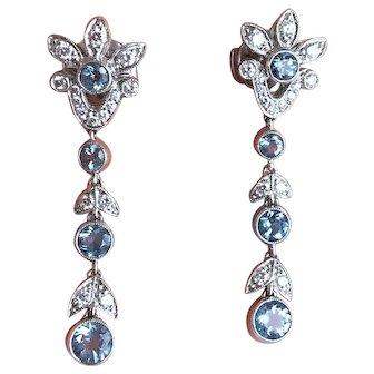 Tiffany & Co Platinum Diamond & Aquamarine Garland Earrings