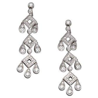 Tiffany & Co Jazz Pagoda Platinum Diamond Drop Earrings