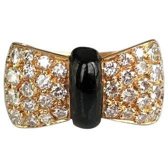 Van Cleef and Arpels Diamond Onyx Bow Ring US 5.25