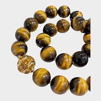 David Yurman Tiger Eye Gold Citrine Bead Necklace