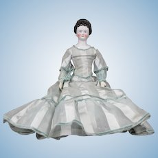 """24"""" Antique Pierced Ear China Doll With Good Hairdo  AS IS"""