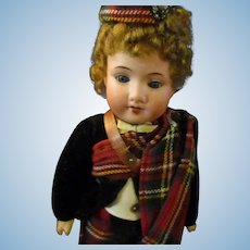 "9"" Antique All Original Armand Marseille Model #390 Scottish Girl Doll"