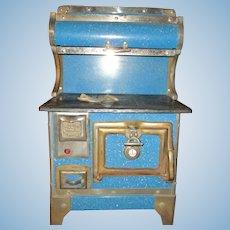 "21"" Tall Antique Karr Blue Granite Enamel Salesman's Sample Stove In Excellent Condition"
