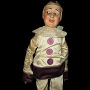 "24"" Antique Lovely Papier Mache Pierrot Bed or Boudoir Doll"
