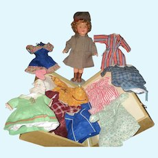 """18"""" Ideal Composition Shirley Temple Doll, Extensive Wardrobe & Steamer Trunk"""