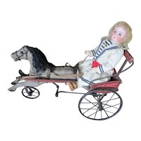 """34"""" Long Antique Wood Horse & Cart Peddle Toy - RARE Small Size For Your Doll"""