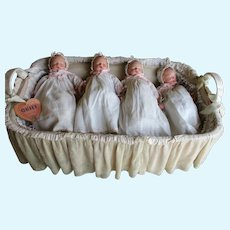 4 Effanbee Composition Sleeping Babies In Original Presentation Basket