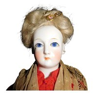 """9"""" Antique Glass Eye Parian With Wig.  All Original Including Clothing."""
