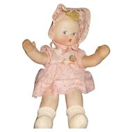 "17"" RARE Antique Cloth Doll Pat-O-Pat by Effanbee All Original with Original Button Ca. 1925"