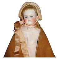 """21"""" Antique Closed Mouth German Shoulder Head Doll With Very Sweet Expression, Factory Cloth Body"""