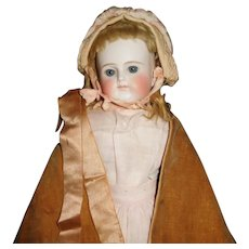 "21"" Antique Closed Mouth German Shoulder Head Doll With Very Sweet Expression, Factory Cloth Body"