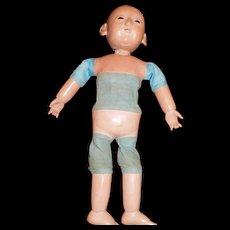 """17"""" Antique Papier Mache Mottschmann Asian Doll"""