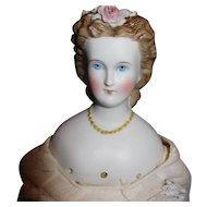 "17"" Antique German Parian Doll With Molded Gold Necklace & Dresden Flowers - Flowers AS IS"
