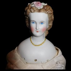 """17"""" Antique German Parian Doll With Molded Gold Necklace & Dresden Flowers - Flowers AS IS"""