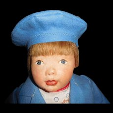 """18"""" Antique Kamkins Oil Painted Cloth Doll, Ca. 1919-1928"""
