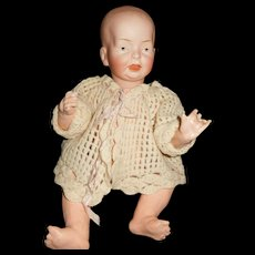 """13"""" Antique F.B. German Character Baby With Solid Dome Head & Painted Eyes"""